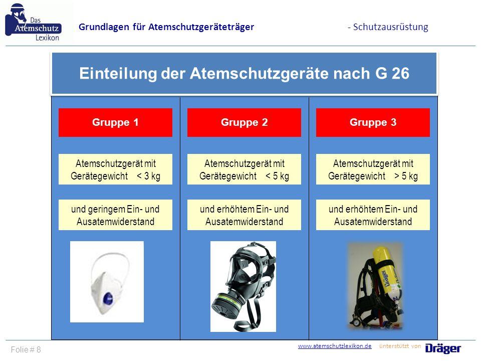 Einteilung der Atemschutzgeräte nach G 26