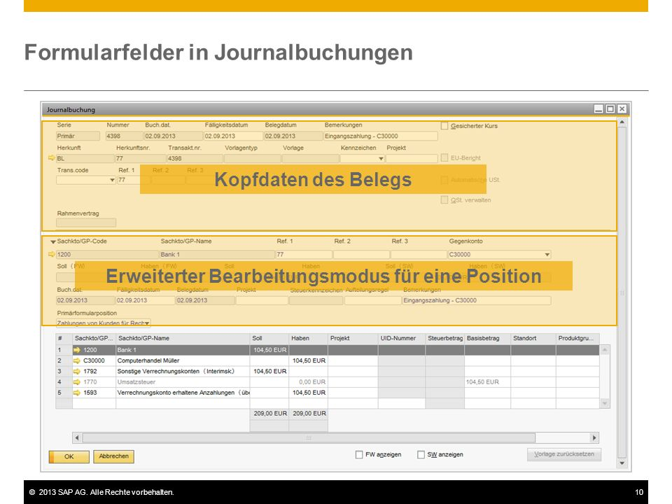 Formularfelder in Journalbuchungen