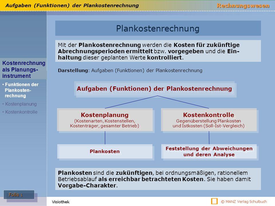 Aufgaben (Funktionen) der Plankostenrechnung