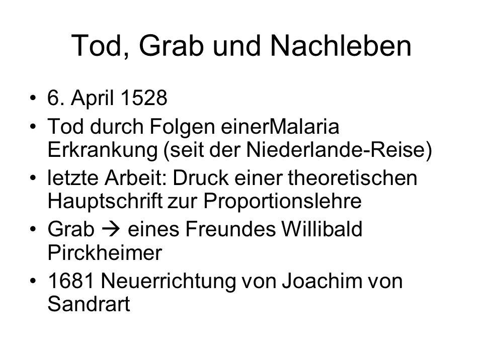 Tod, Grab und Nachleben 6. April 1528