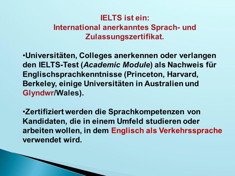 International anerkanntes Sprach- und Zulassungszertifikat.