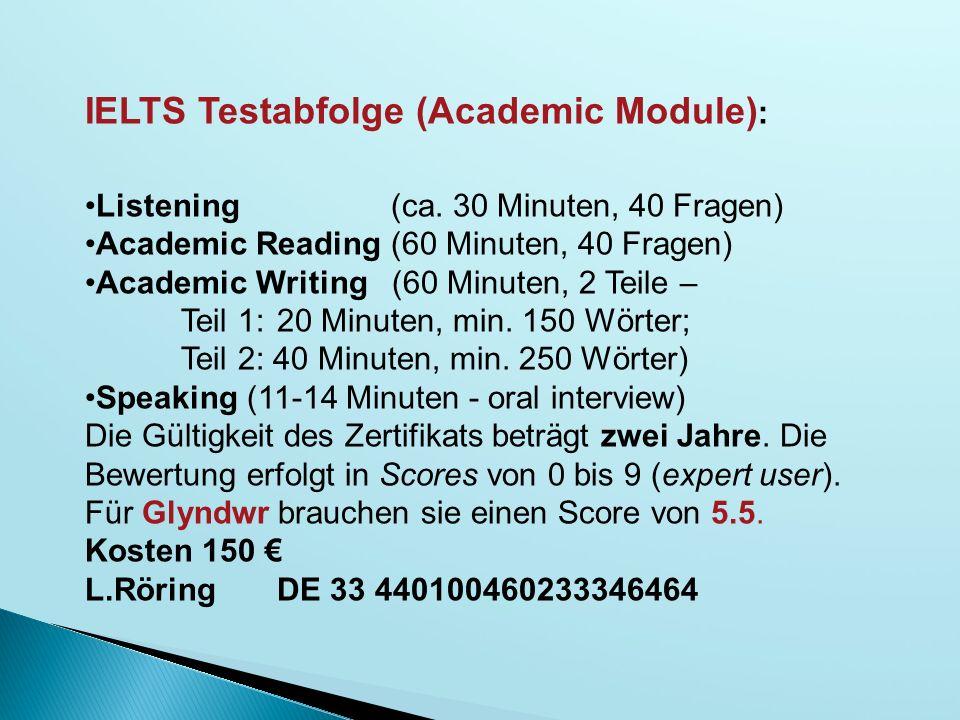 IELTS Testabfolge (Academic Module):