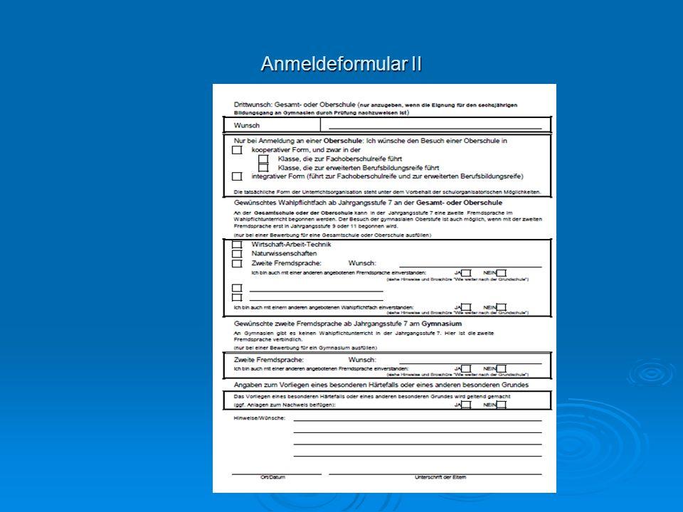 Anmeldeformular II