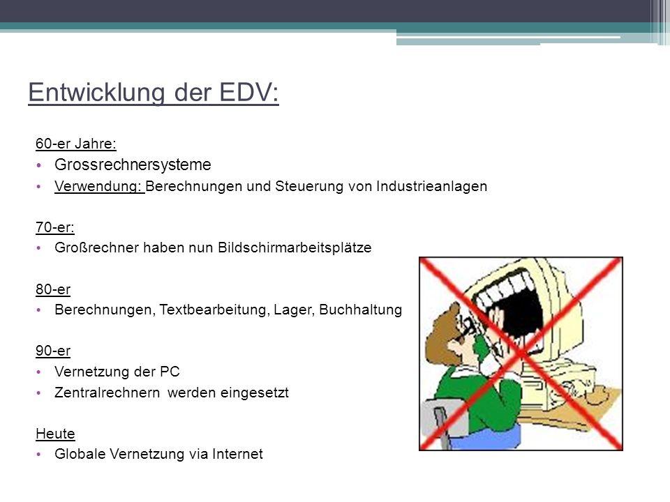 Entwicklung der EDV: Grossrechnersysteme 60-er Jahre: