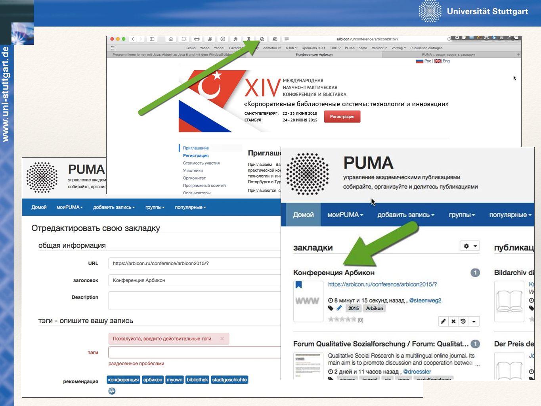 Beispiel Bookmarking: Webseite aufrufen (Fenster oben rechts)