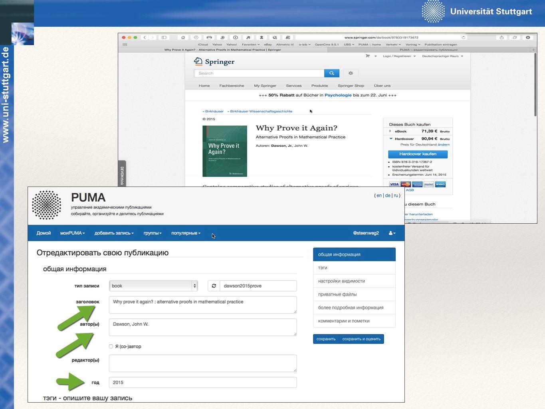 Publikationen eintragen über Webseite