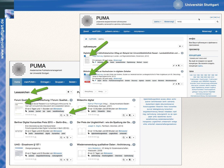www.uni-stuttgart.de Dateien hochladen: Zu den bibliographischen Daten können Dateien (z.B. PDF-Dateien) hochgeladen werden.