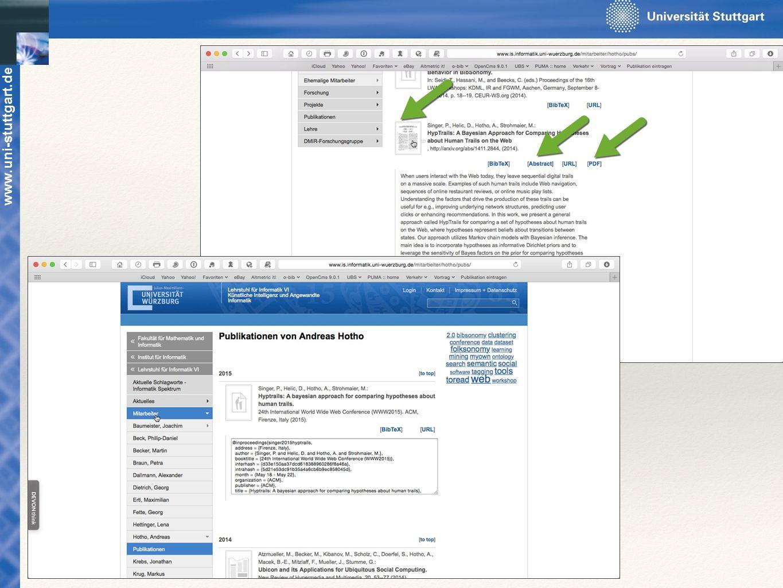 www.uni-stuttgart.de Mit den Publikations-Daten können BibTeX-Text, URL der Publikation oder Abstractsüber Pull-Down-Menüs angezeigt werden.