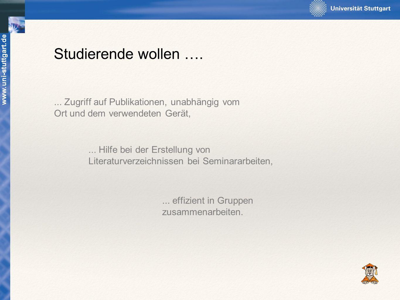 Studierende wollen …. ... Zugriff auf Publikationen, unabhängig vom Ort und dem verwendeten Gerät, www.uni-stuttgart.de.