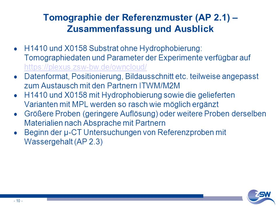 Tomographie der Referenzmuster (AP 2.1) – Zusammenfassung und Ausblick