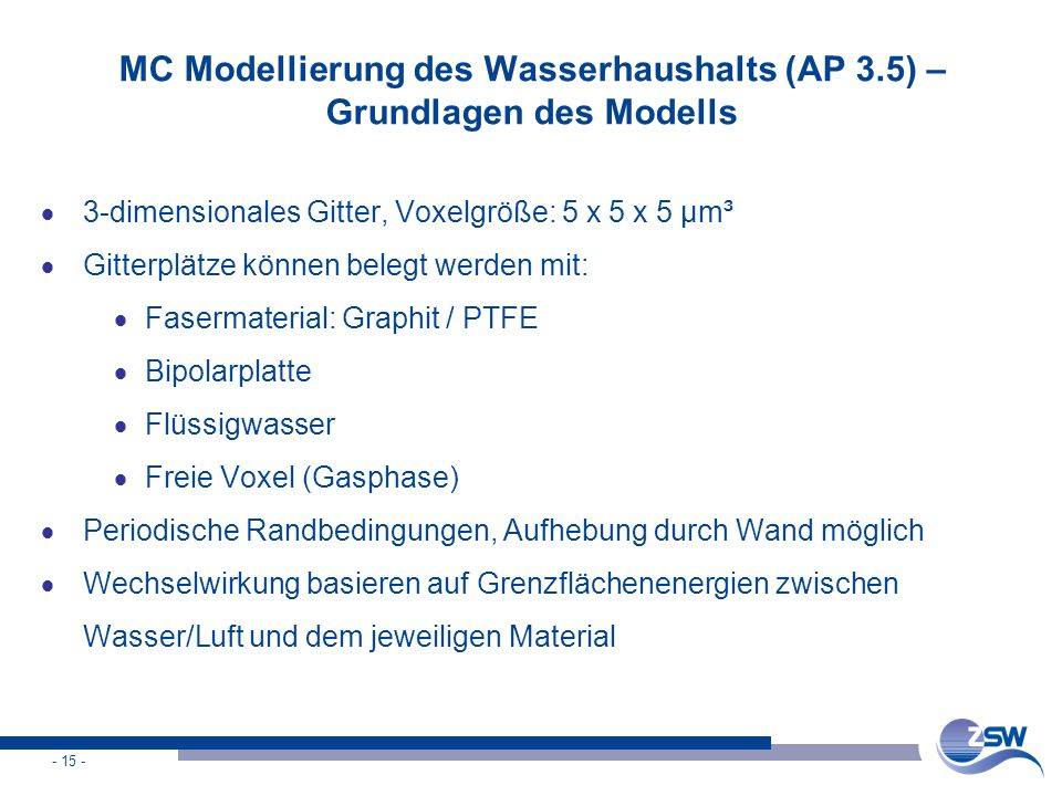 MC Modellierung des Wasserhaushalts (AP 3.5) – Grundlagen des Modells