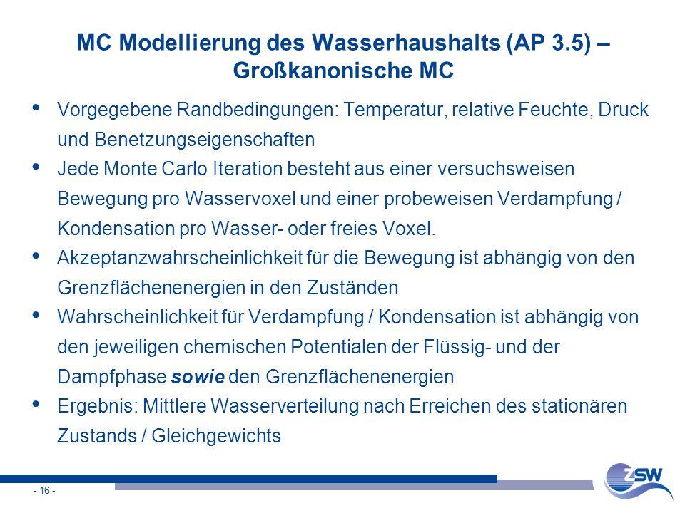 MC Modellierung des Wasserhaushalts (AP 3.5) – Großkanonische MC