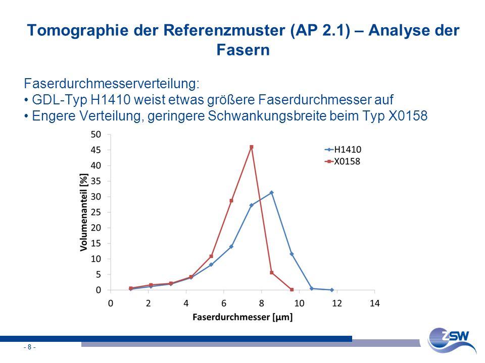 Tomographie der Referenzmuster (AP 2.1) – Analyse der Fasern