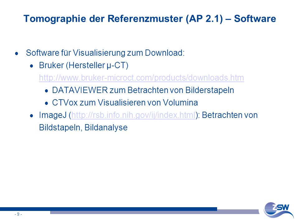 Tomographie der Referenzmuster (AP 2.1) – Software