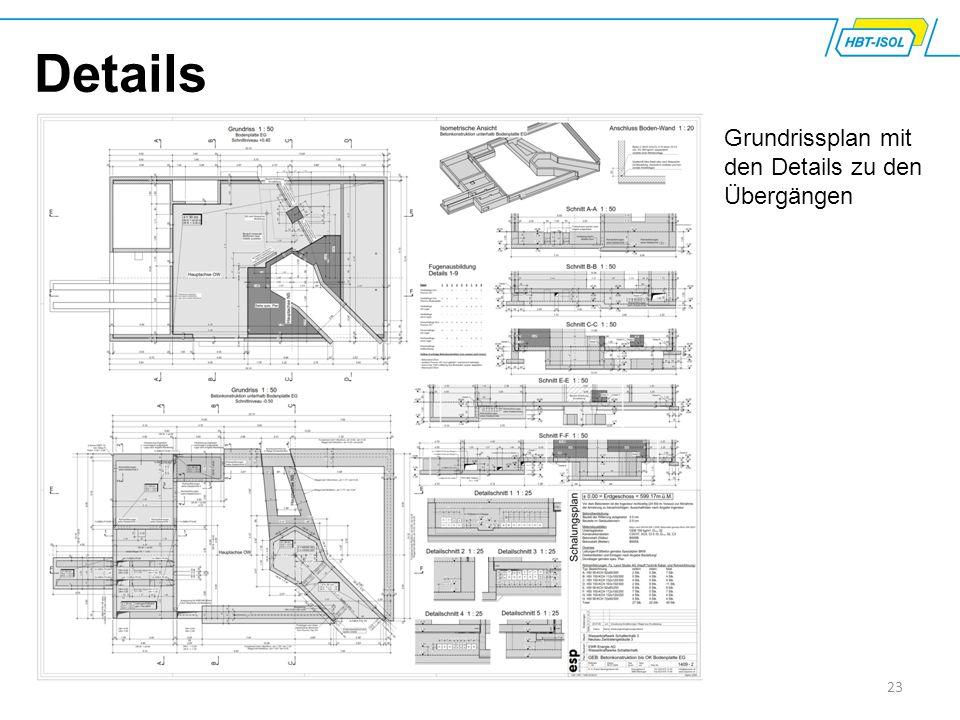 Details Grundrissplan mit den Details zu den Übergängen