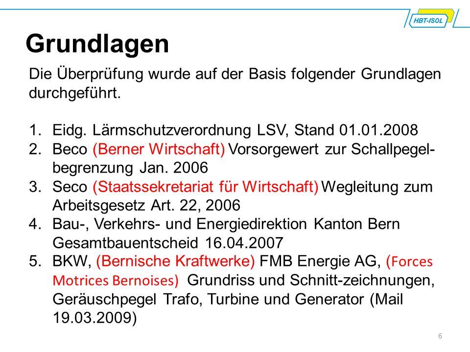Grundlagen Die Überprüfung wurde auf der Basis folgender Grundlagen durchgeführt. Eidg. Lärmschutzverordnung LSV, Stand 01.01.2008.