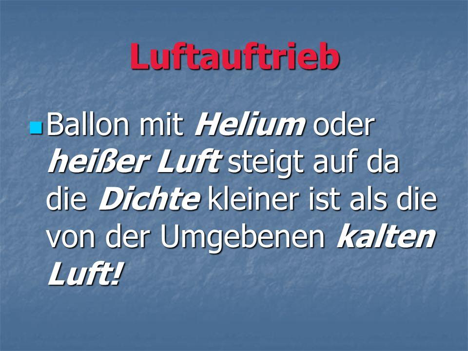 Luftauftrieb Ballon mit Helium oder heißer Luft steigt auf da die Dichte kleiner ist als die von der Umgebenen kalten Luft!