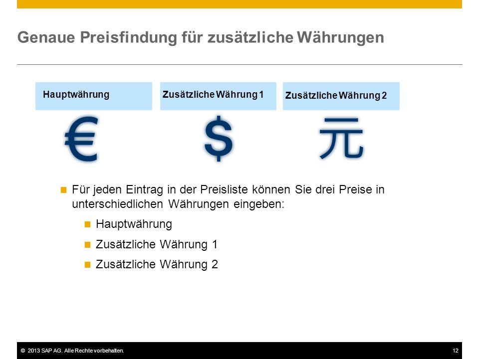 Genaue Preisfindung für zusätzliche Währungen