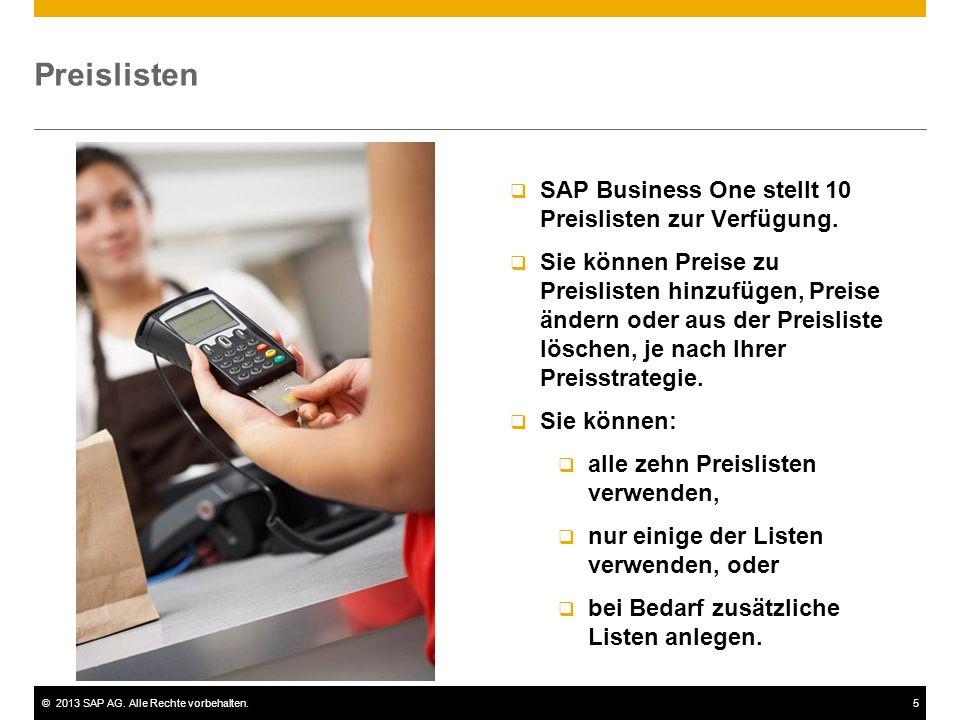 Preislisten SAP Business One stellt 10 Preislisten zur Verfügung.