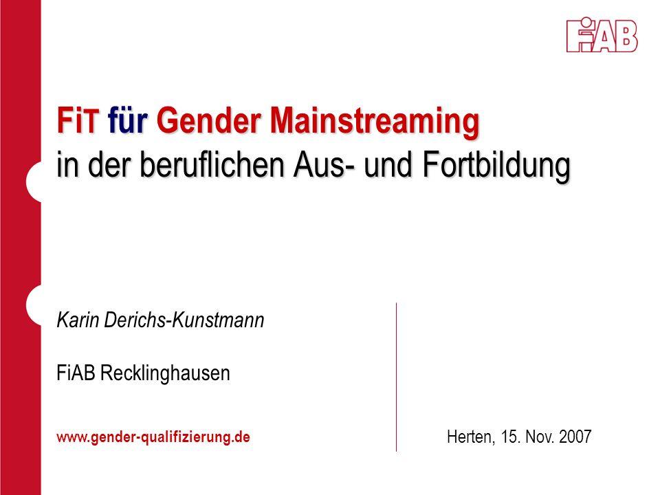 FiT für Gender Mainstreaming in der beruflichen Aus- und Fortbildung