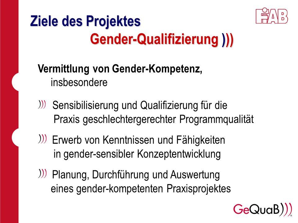 Ziele des Projektes Gender-Qualifizierung )))