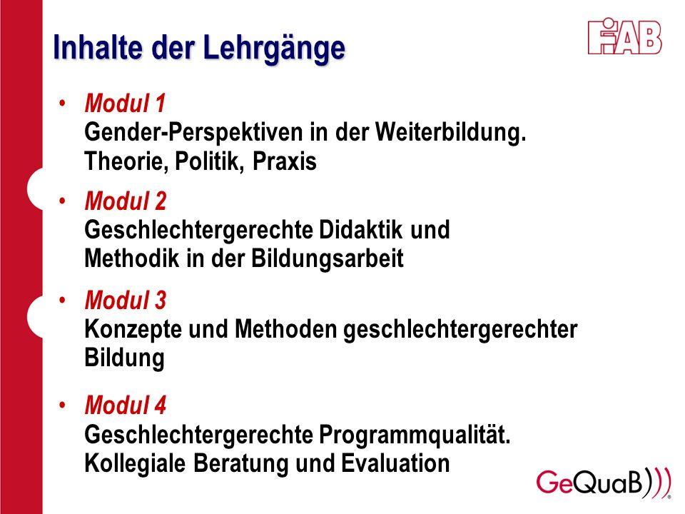 Inhalte der Lehrgänge Modul 1 Gender-Perspektiven in der Weiterbildung. Theorie, Politik, Praxis.