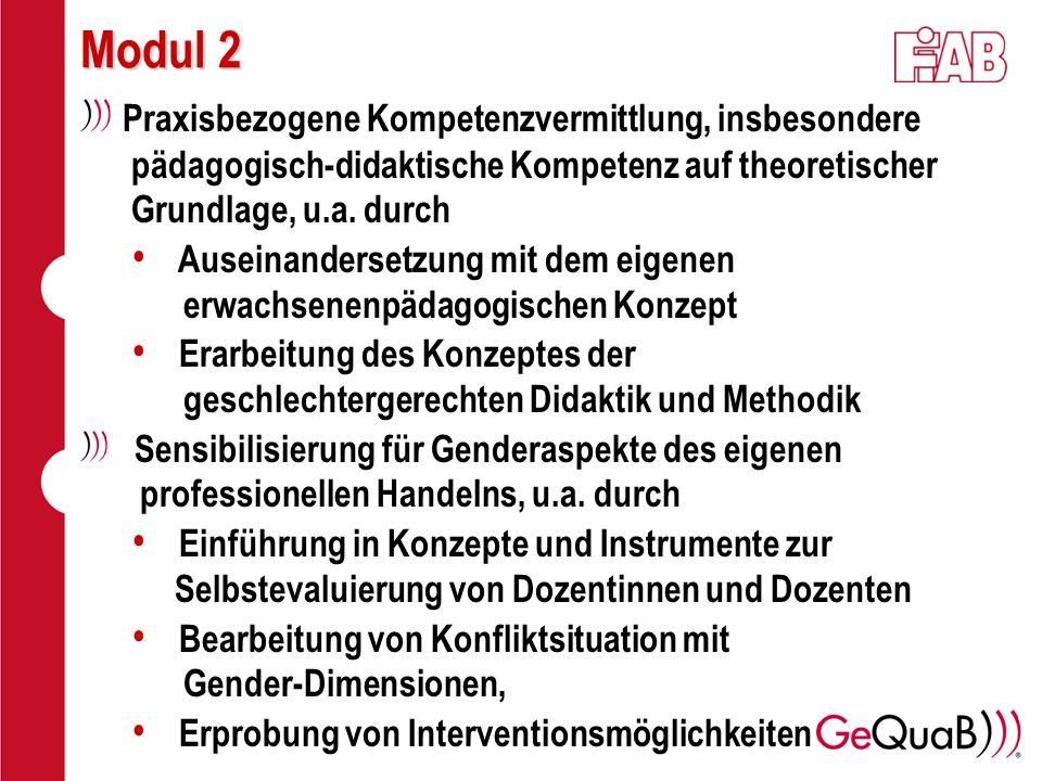 Modul 2 Praxisbezogene Kompetenzvermittlung, insbesondere pädagogisch-didaktische Kompetenz auf theoretischer Grundlage, u.a. durch.