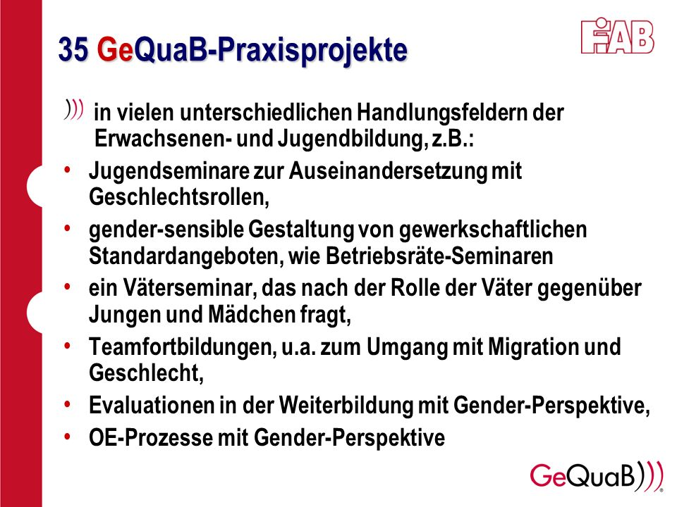 35 GeQuaB-Praxisprojekte