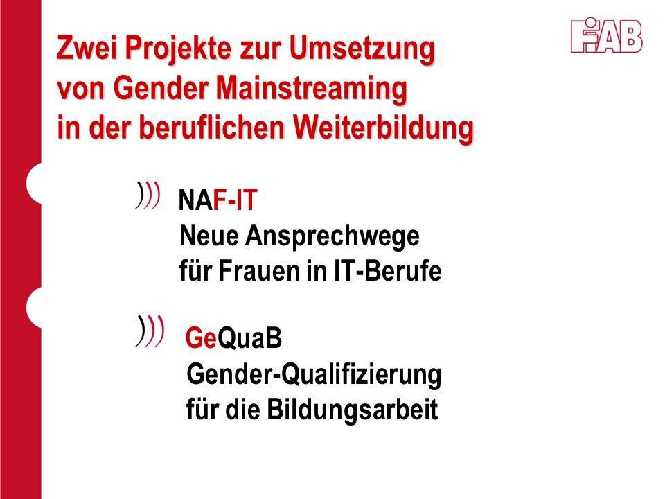 Zwei Projekte zur Umsetzung von Gender Mainstreaming in der beruflichen Weiterbildung