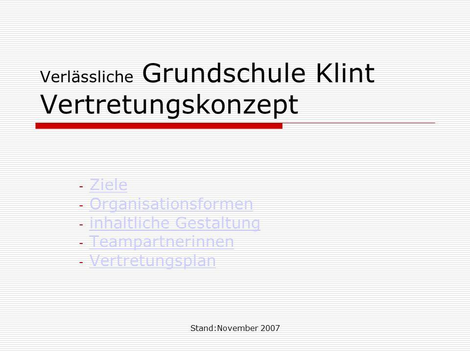 Verlässliche Grundschule Klint Vertretungskonzept
