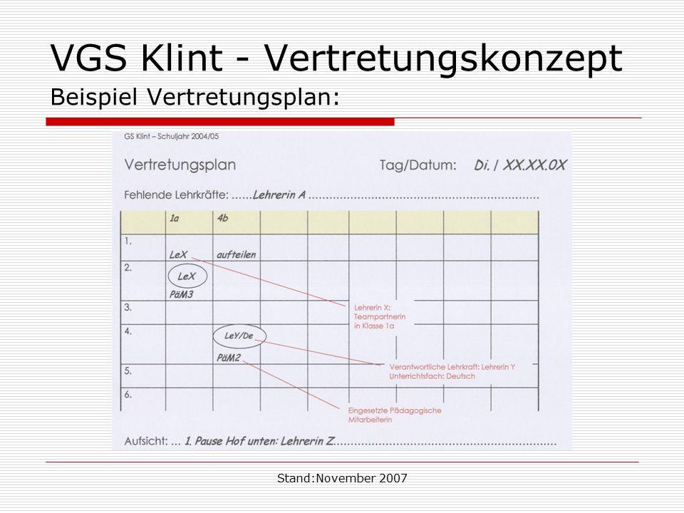 VGS Klint - Vertretungskonzept Beispiel Vertretungsplan: