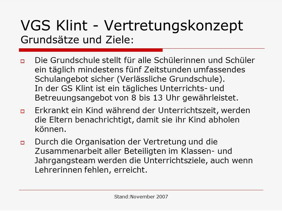 VGS Klint - Vertretungskonzept Grundsätze und Ziele: