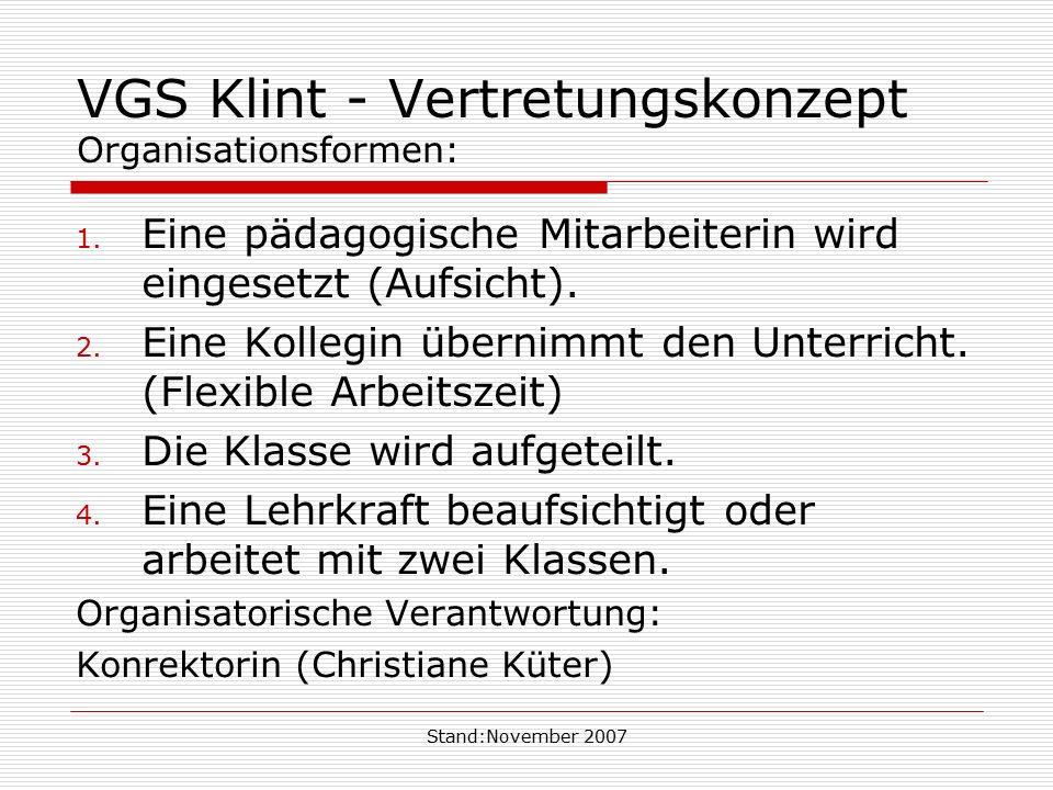 VGS Klint - Vertretungskonzept Organisationsformen: