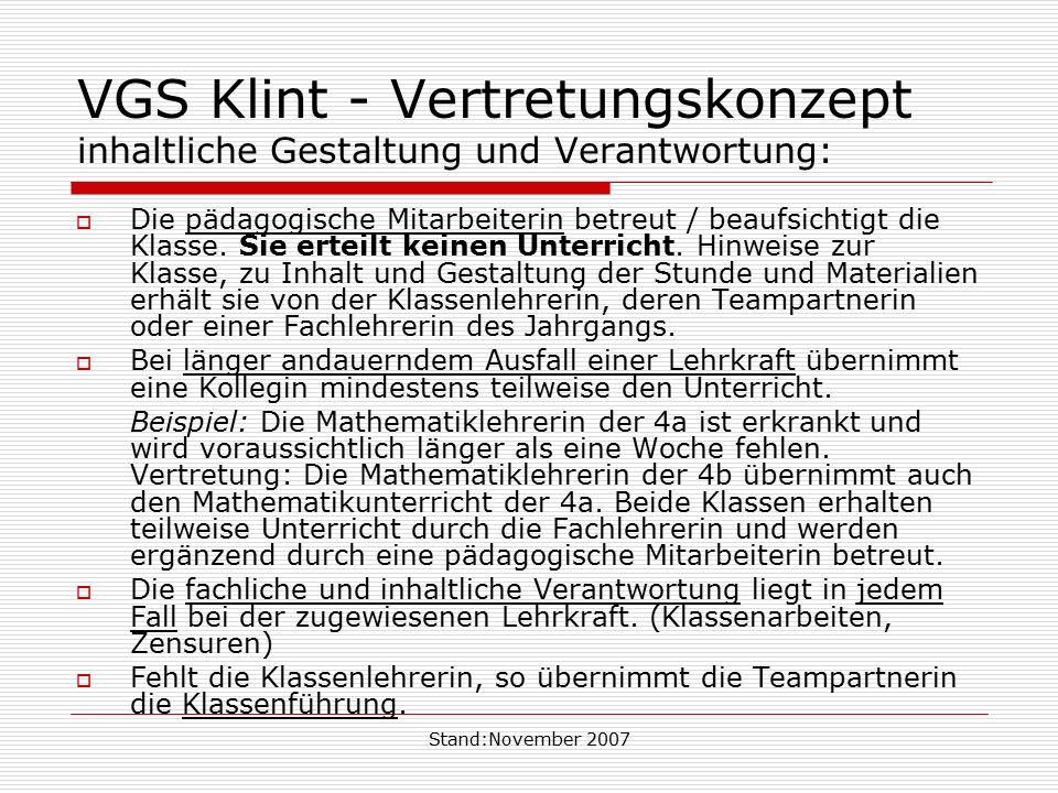 VGS Klint - Vertretungskonzept inhaltliche Gestaltung und Verantwortung:
