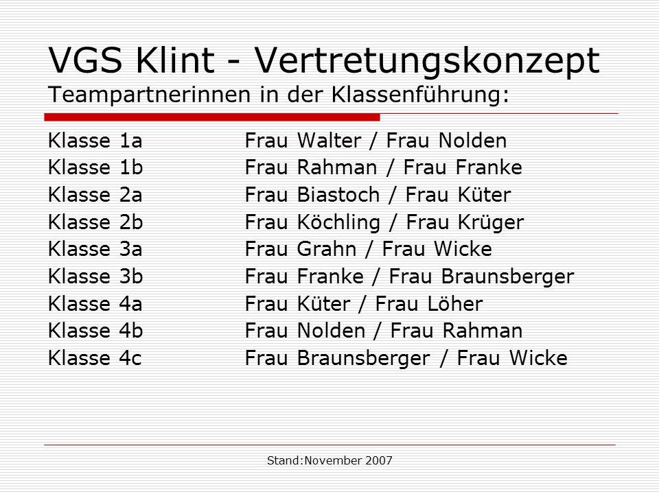 VGS Klint - Vertretungskonzept Teampartnerinnen in der Klassenführung: