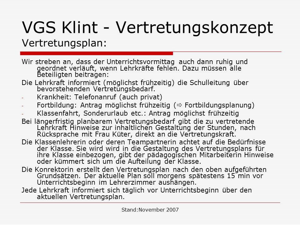 VGS Klint - Vertretungskonzept Vertretungsplan:
