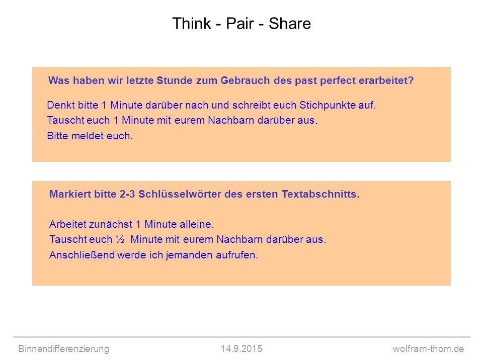 Think - Pair - Share Was haben wir letzte Stunde zum Gebrauch des past perfect erarbeitet