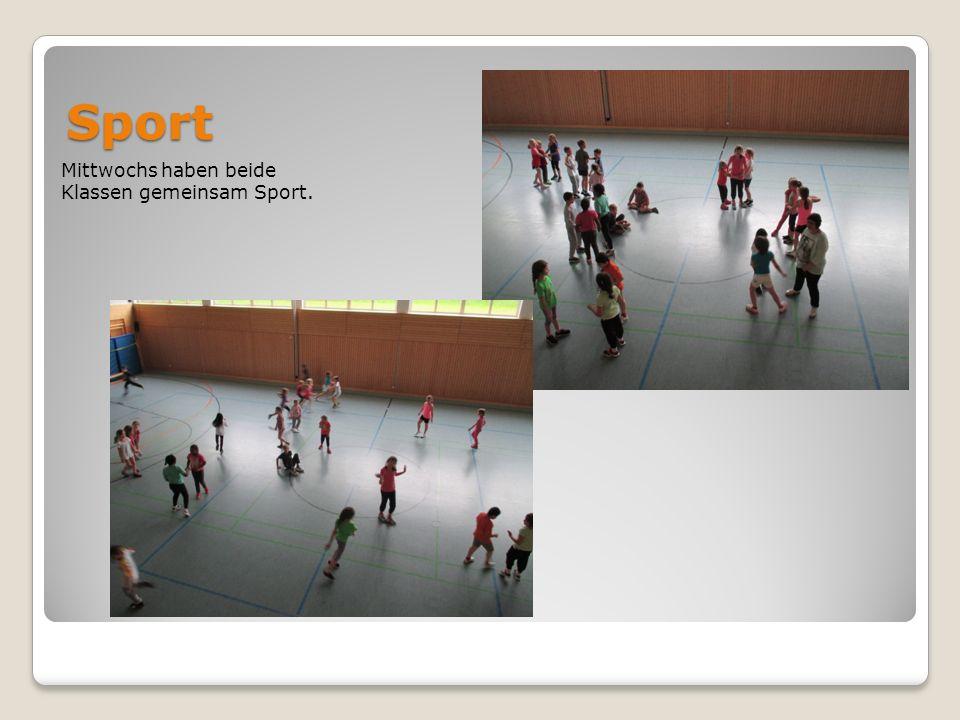 Sport Mittwochs haben beide Klassen gemeinsam Sport.