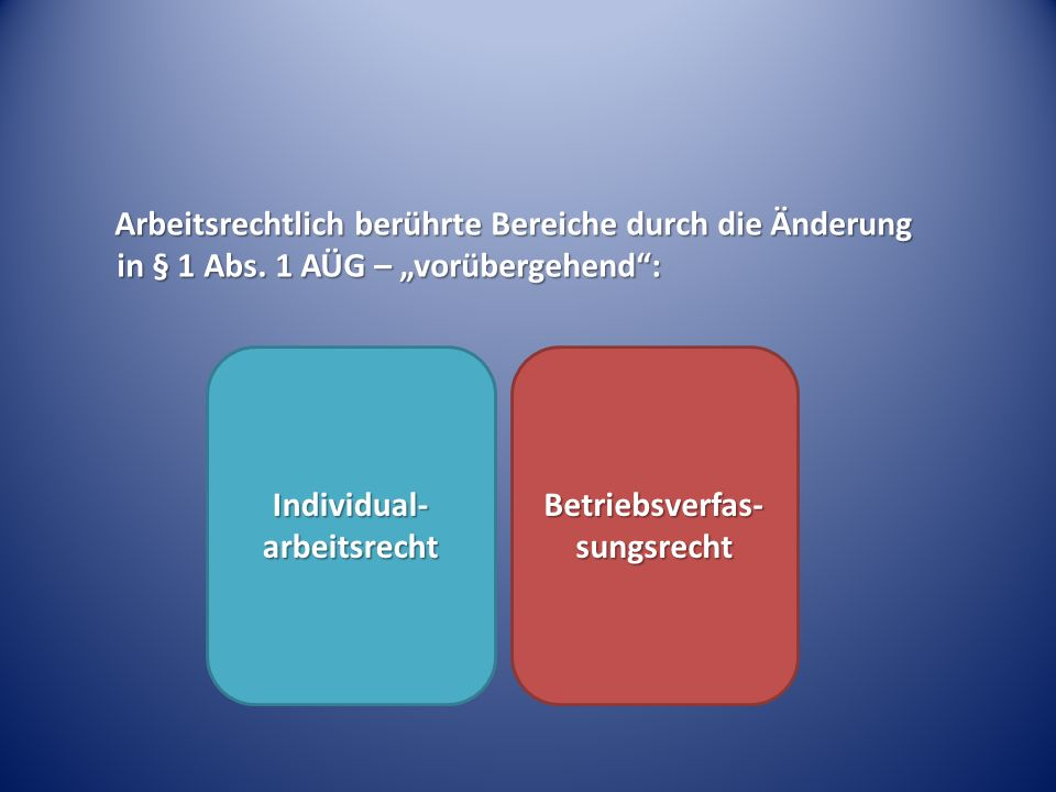 Individual-arbeitsrecht Betriebsverfas-sungsrecht