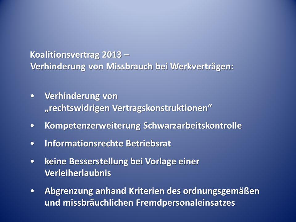 Koalitionsvertrag 2013 – Verhinderung von Missbrauch bei Werkverträgen: