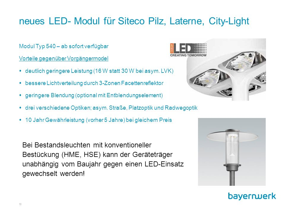 neues LED- Modul für Siteco Pilz, Laterne, City-Light