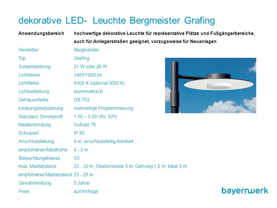 dekorative LED- Leuchte Bergmeister Grafing