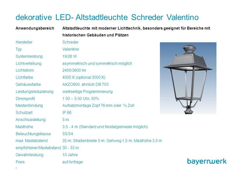 dekorative LED- Altstadtleuchte Schreder Valentino
