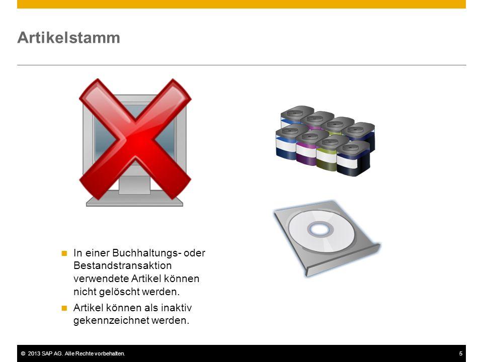 Artikelstamm In einer Buchhaltungs- oder Bestandstransaktion verwendete Artikel können nicht gelöscht werden.
