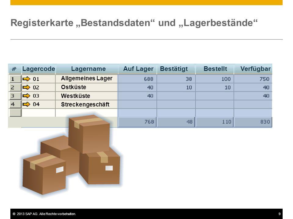"""Registerkarte """"Bestandsdaten und """"Lagerbestände"""