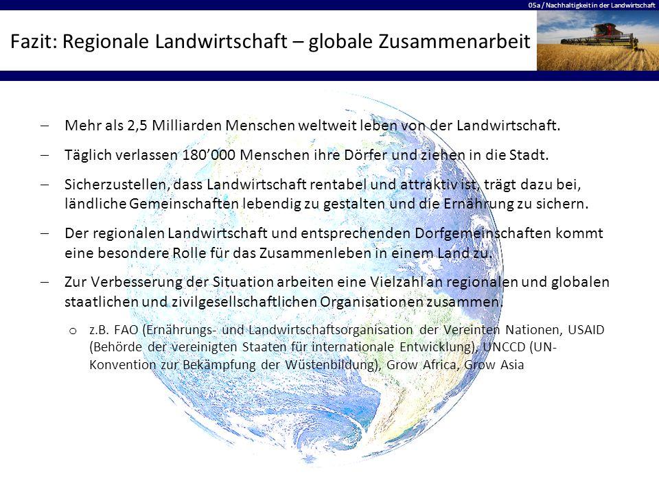 Fazit: Regionale Landwirtschaft – globale Zusammenarbeit