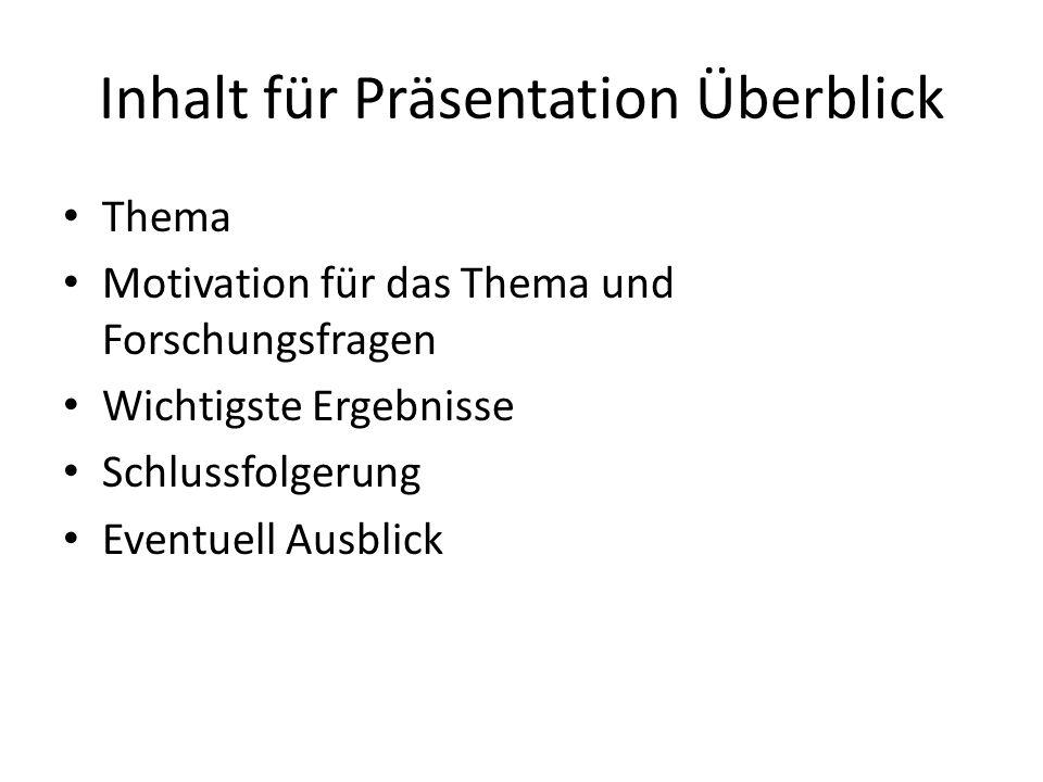 Inhalt für Präsentation Überblick
