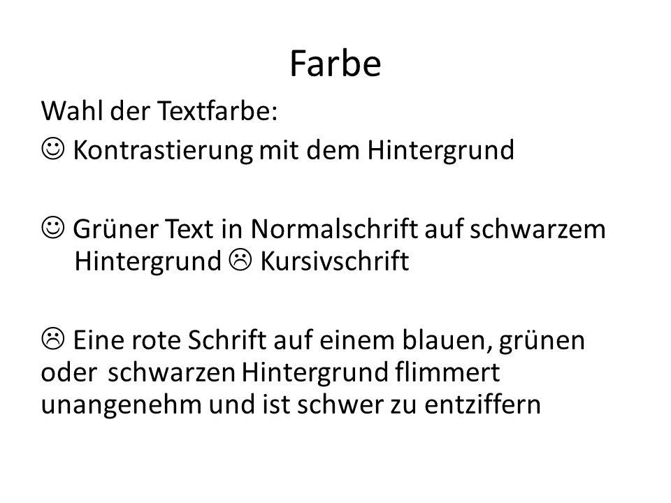 Farbe Wahl der Textfarbe: Kontrastierung mit dem Hintergrund