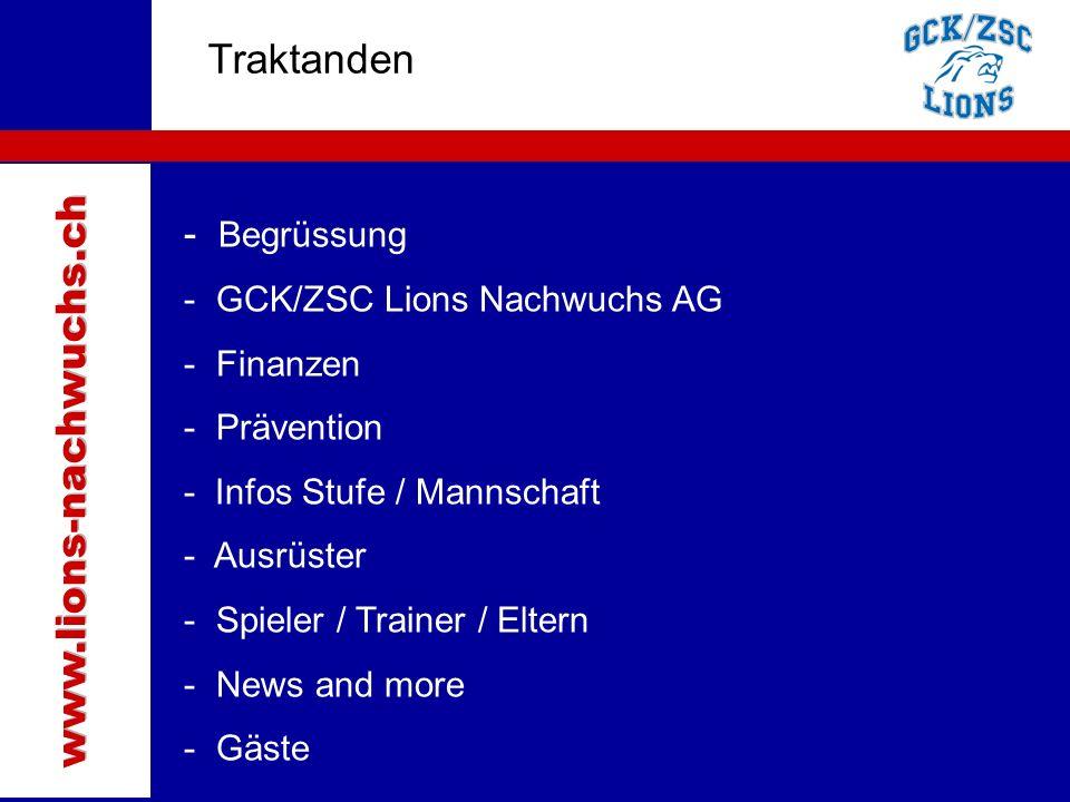Traktanden Traktanden www.lions-nachwuchs.ch Begrüssung