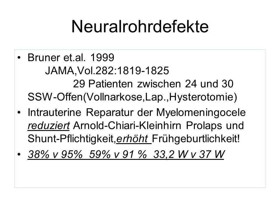 Neuralrohrdefekte Bruner et.al. 1999 JAMA,Vol.282:1819-1825 29 Patienten zwischen 24 und 30 SSW-Offen(Vollnarkose,Lap.,Hysterotomie)